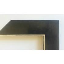 Fabira Salamanca Schwarz Matt durchgerieben, Kante Silber ca. 50mm × 20mm